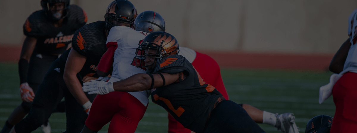 UTPB Falcons football players in action.
